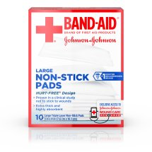 BAND-AID® Brand Adhesive Bandages, Large Non-Stick Pads for Minor Cuts, 10 3-Inch x 4-Inch Pads