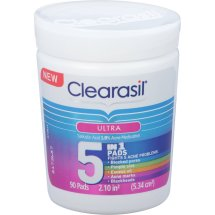 Clearasil Ultra 5-in-1 Acne Medication Pads, 90 ct