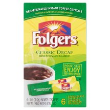 Folgers Classic Decaf Decaffeinated Instant Coffee Crystals, 0.07 oz, 6 count