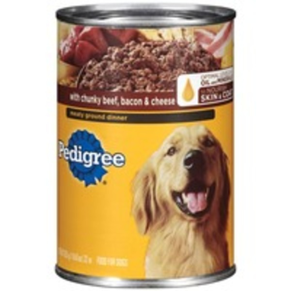 Pedigree Meaty Ground Dinner with Chunky Beef Bacon & Cheese Wet Dog Food