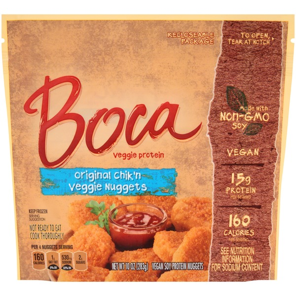 Boca Original Chik'n Made with Non-GMO Soy Vegan Soy Protein Nuggets