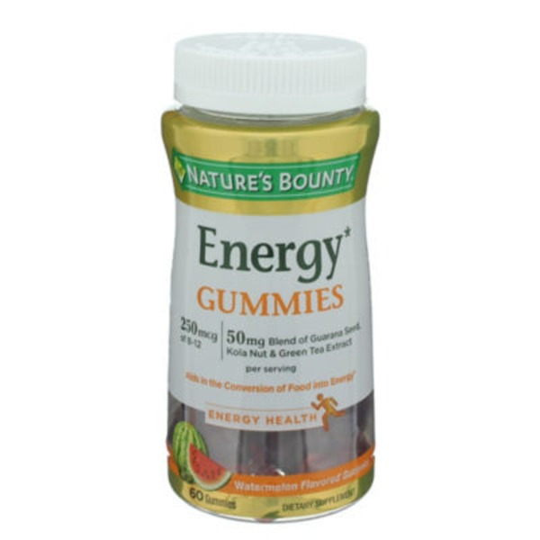 Nature's Bounty Energy, Watermelon, Gummies, Bottle