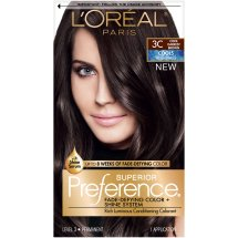 L'Oreal Paris Superior Preference Fade-Defying Color + Shine Hair Color, 3C Cool Darkest Brown, 1 Kit