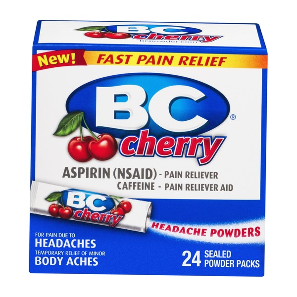 BC Powder Aspirin Fast Pain Relief Cherry - 24 CT