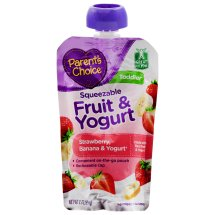 Parent's Choice Baby Food, Stage 4, Strawberry Banana & Yogurt, 3.5oz Pouch