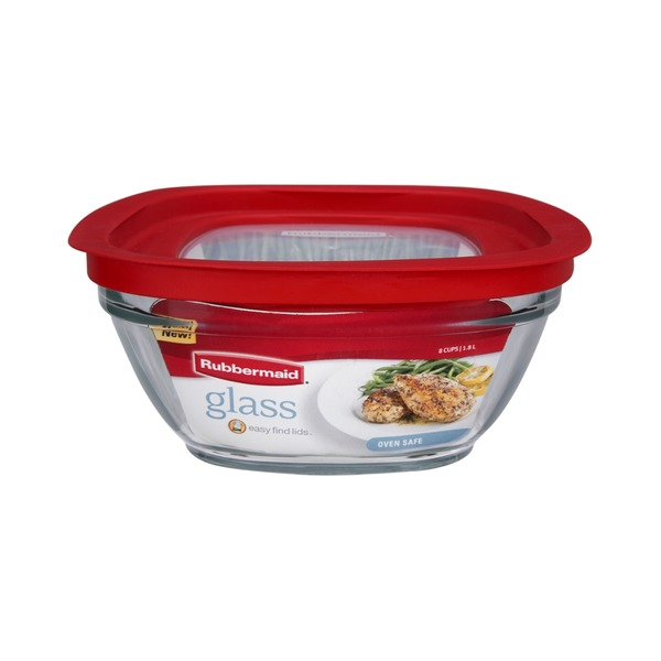 Rubbermaid 8 Cups Glass Food Storage with Lid