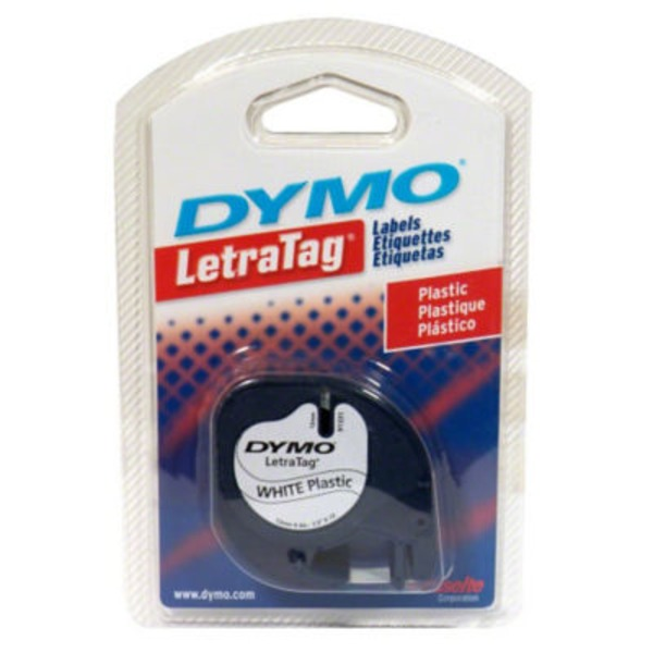 Dymo Letra Tag White Plastic Labels Refill
