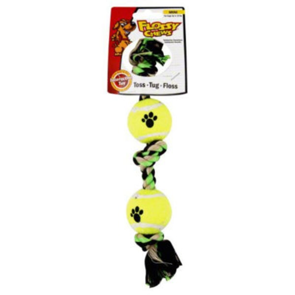 Flossy Chews Mini 3 Knot Tug with Tennis Balls Dog Toy