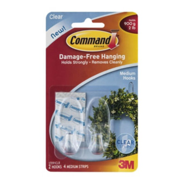Command. Clear Hooks With Clear Strips, Medium