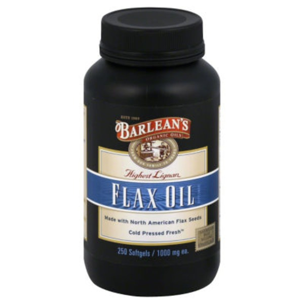 Barlean's Flax Oil, Highest Lignan, 1000 mg, Softgels