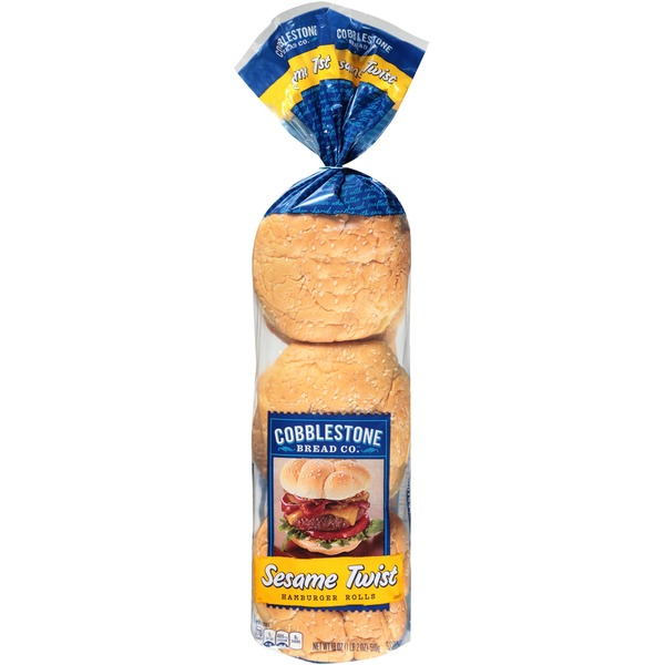 Cobblestone Mill Sesame Twist Hamburger Rolls