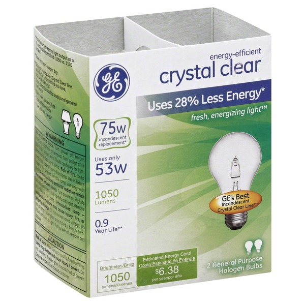 GE Light Bulbs, Halogen, Crystal Clear, 53 Watts