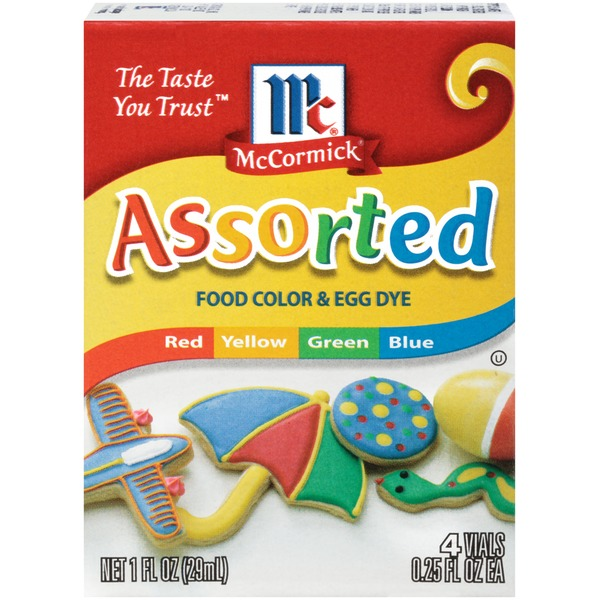 McCormick Assorted Red/Yellow/Green/Blue Food Color & Egg Dye