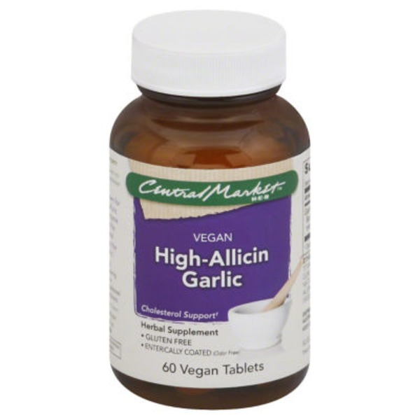 Central Market Vegan High Allicin Garlic 500 Mg Vegan Tablets