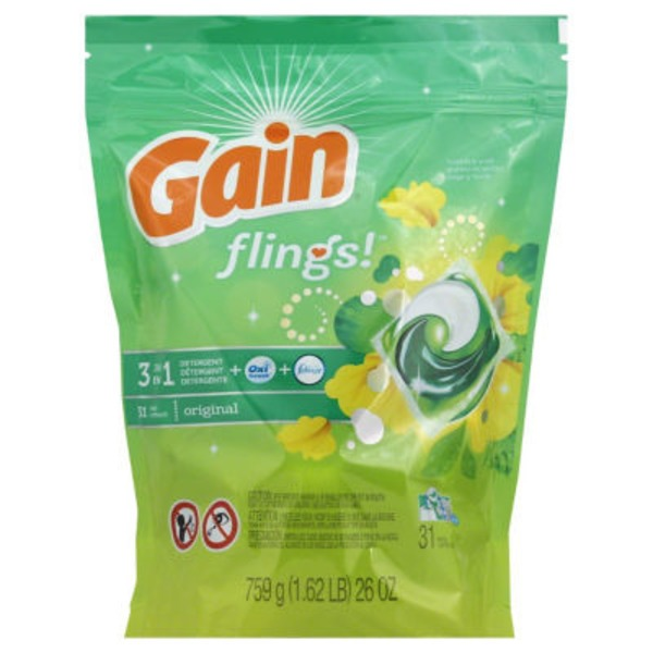 Gain flings! Laundry Detergent Pacs, Original, 31 Count Laundry