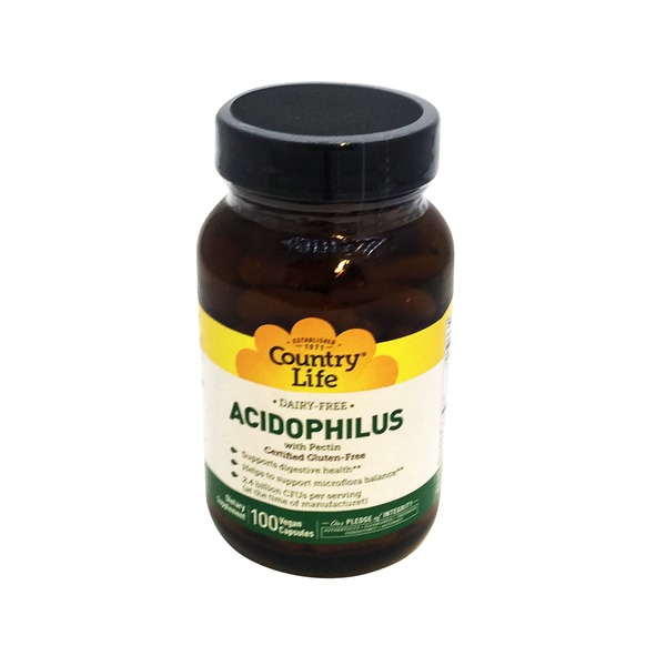 Country Life Dairy Free Acidophillus with Pectin Vegetarian Capsules