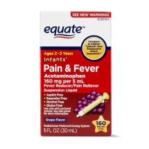 Equate Infants Acetaminophen Grape Suspension, 160 mg, 1 Oz