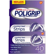 Super Poligrip Comfort Seal Denture Adhesive Strips, 40-Count Boxes