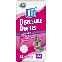 OUT! Disposable Female Dog Diapers, M/L, 14 ct