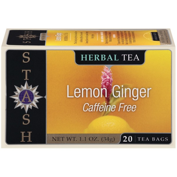 Stash Tea Lemon Ginger Caffeine Free Herbal Tea Bags