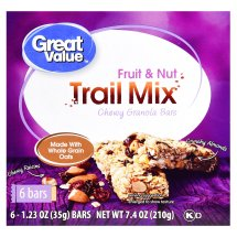 Great Value Chewy Granola Bars, Fruit & Nut Trail Mix, 7.4 oz, 6 Count