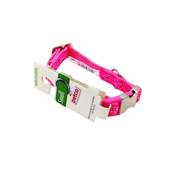 Petco Adjustable Pink & White Dotted Dog Collar