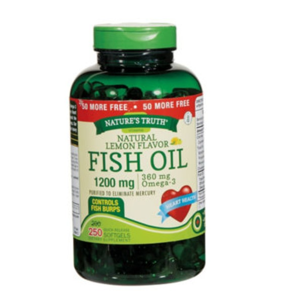 Nature's Truth Organic Fish Oil 1200mg Softgels Dietary Supplement