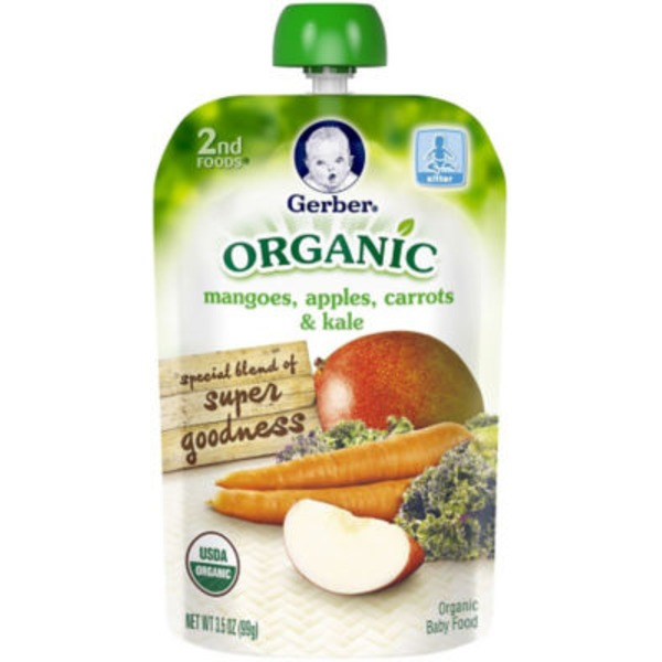 Gerber Organic 2 Nd Foods Organic Mangoes Apples Carrots & Kale Baby Food