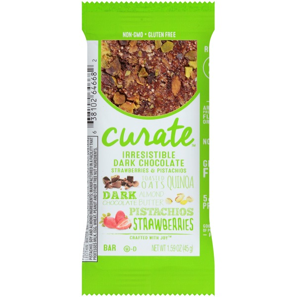 Curate Irresistible Dark Chocolate, Strawberries & Pistachios Snack Bar