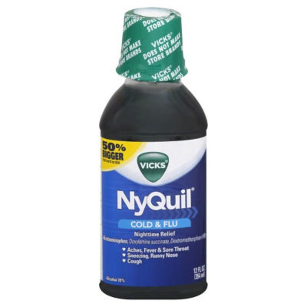 Vicks NyQuil Cold & Flu Nighttime Relief Original Flavor Liquid 12 Fl Oz Respiratory Care