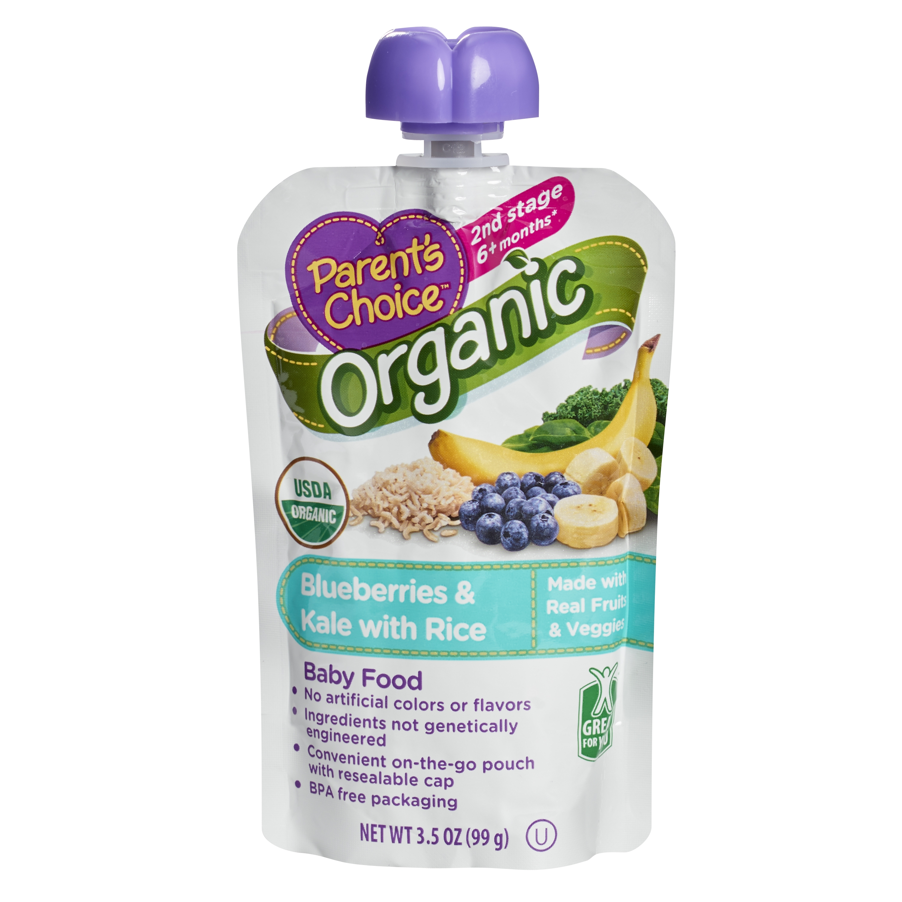 Parents Choice Org Blueberries Kale With Rice Baby Food