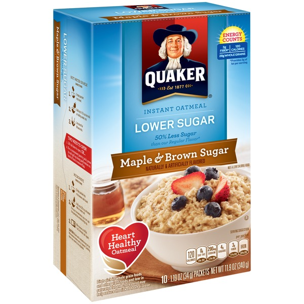 Quaker Oatmeal Lower Sugar Maple & Brown Sugar Instant Oatmeal