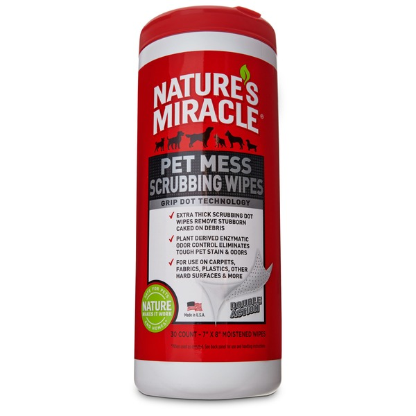 Nature's Miracle Pet Mess Scrubbing Wipes 30 Count