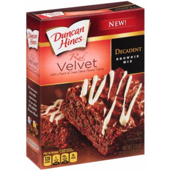 Duncan Hines Decadent Red Velvet W/Pouch of Cream Cheese Flavored Topping Brownie Mix