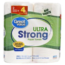 Great Value Ultra Strong Paper Towels, Strong & Absorbent, 2 Double Rolls