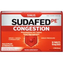 Sudafed PE Congestion, Maximum-Strength Sinus Pressure and Nasal Congestion Relief, 18 Count