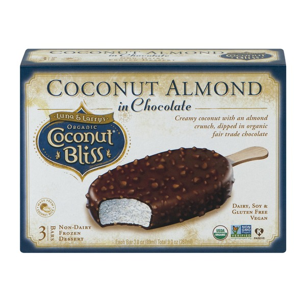 Luna and Larry's Organic Coconut Bliss Coconut Almond in Chocolate - 3 CT