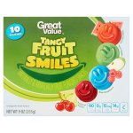 Great Value Tangy Fruit Smiles Naturally & Artificially Fruit-Flavored Snacks, 10 count, 9 oz