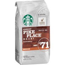 Starbucks Pike Place Roast Medium Ground 100% Arabica Coffee, 12 oz