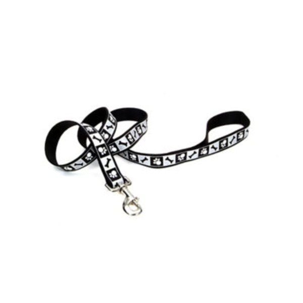 Coastal Pet Lazer Brite Black 5/8 Inch Leash With Reflective Paws And Bones