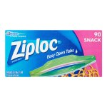 Ziploc Zipper Snack Bags, 90 Ct