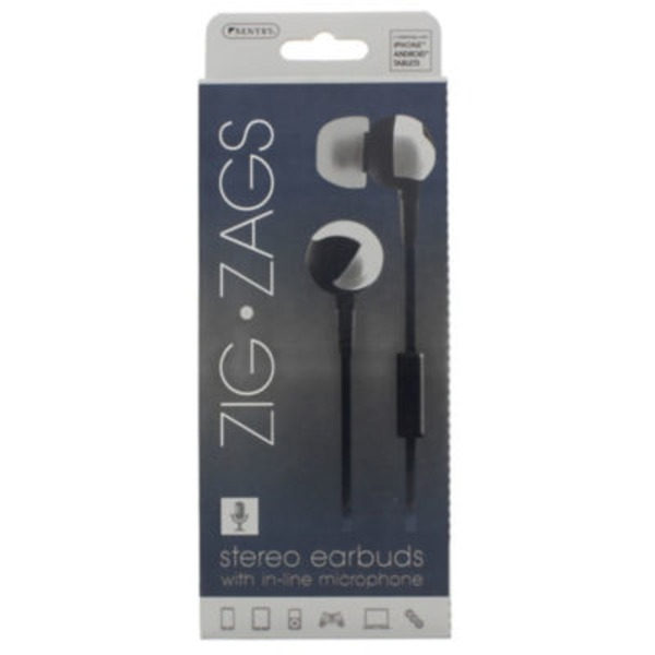 Sentry Pro Zig Zags Black Stereo Earbuds