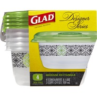 Glad Food Storage Containers, Designer Series, Medium Rectangle, 24 Ounce, 4 Count