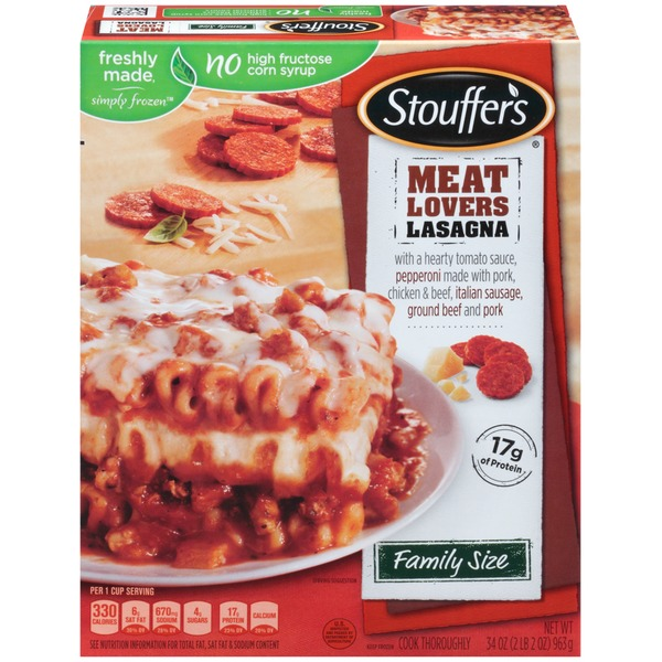 Stouffer's Family Size Made with a hearty tomato sauce, uncured pepperoni, Italian sausage, ground beef and pork Meat Lovers Lasagna