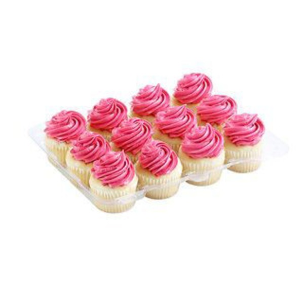 H-E-B White Cupcakes With Pink Buttercream Icing