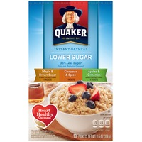 Quaker Oatmeal Lower Sugar Variety Pack Maple & Brown Sugar/Cinnamon & Spice/Apples & Cinnamon Instant Oatmeal