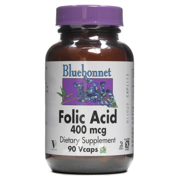 Bluebonnet Folic Acid Vegetable Capsules