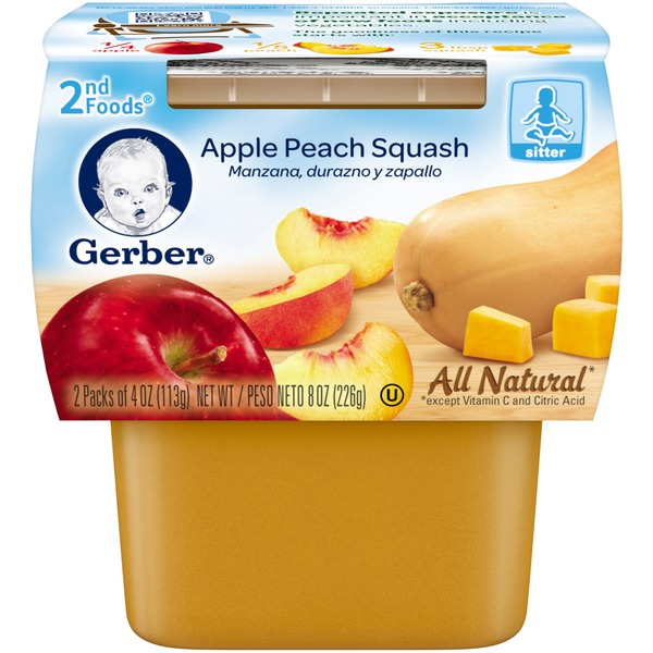 Gerber Foods Apple Peach Squash Baby Food
