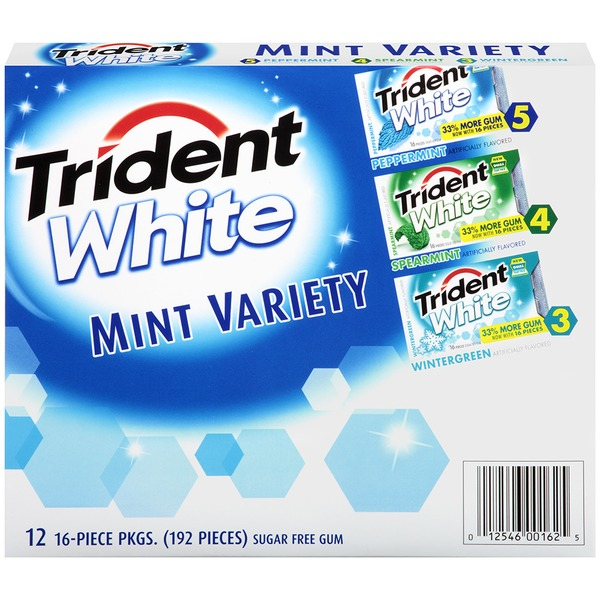 Trident White Peppermint/Spearmint/Wintergreen Mint Variety Pack Sugar Free Gum