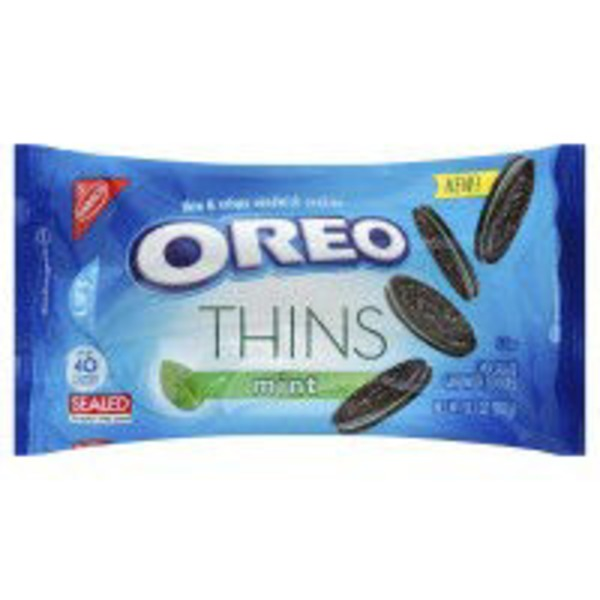 Nabisco Oreo Thins Chocolate Mint Creme Sandwich Cookies
